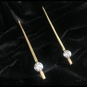 Modern Drop Earrings 22k Yellow gold plated CZ